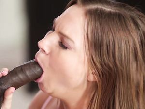Black Cock Buries A Creampie Inside Her Pussy