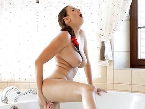 Solo Bathing Beauty With Big Tits Loves A Dildo