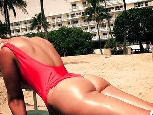 Beach Babe In A Red Swimsuit Is Down To Pound
