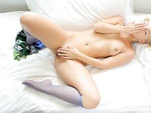 Blonde Teen Cutie Fondling Her Tits And Masturbating