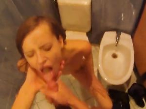 Taking A Girl Into The Bathroom For A Good Blowjob