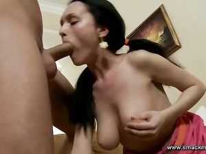 Great Cocksucking From A Worshipful Pigtailed Teen