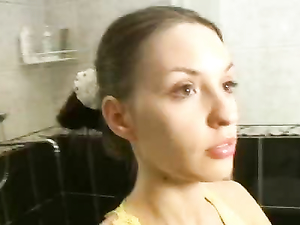 Petite Brunette Cutie Fucking In The Bathroom