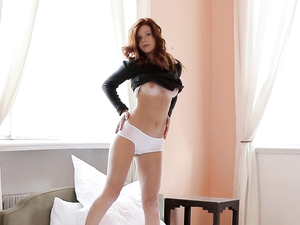 Perfect Redhead Teases In White Cotton Panties