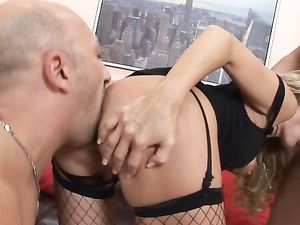 Stiff Boners For A Lovely Blonde In A Hot Threesome