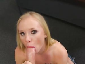 Blowjob And Titty Fucking From Blonde Schoolgirl